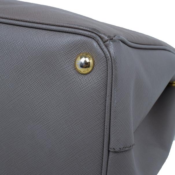 Prada Clay Grey Saffiano Lux Medium Double-Zip Tote