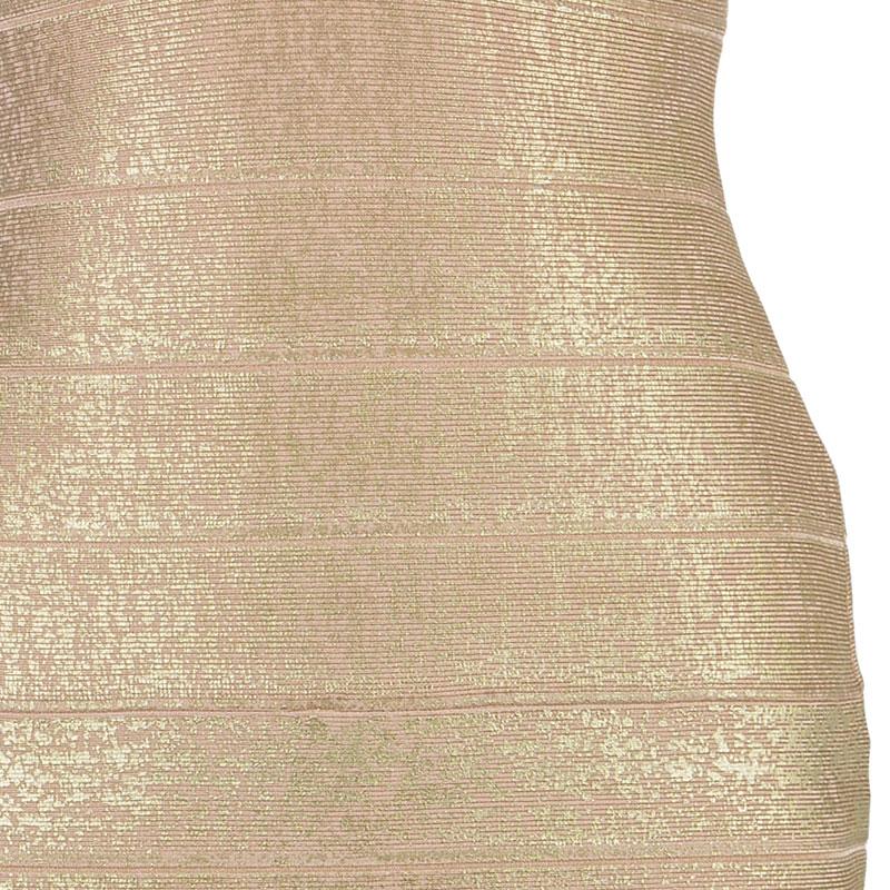 Herve Leger Champagne Bodycon Dress M