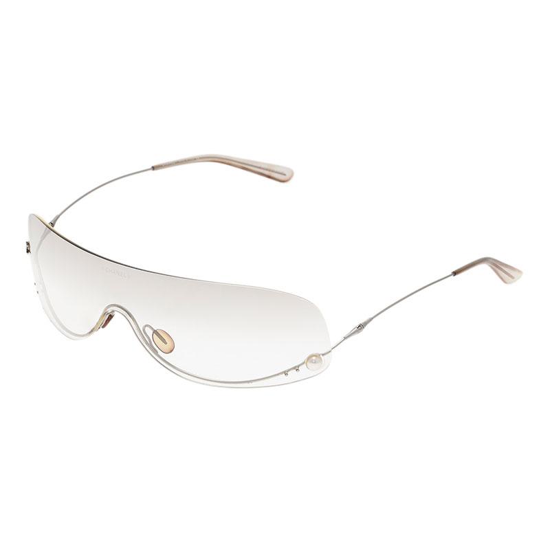 Chanel White 4054 Pearl Rimless Sunglasses