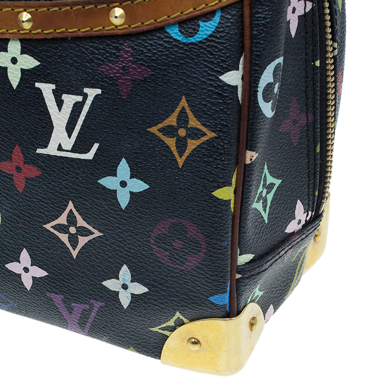 Louis Vuitton Black Multicolour Monogram Deauville Boston Bag