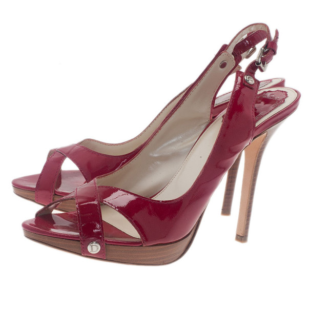 Dior Pink Patent Extreme Slingback Sandals Size 40