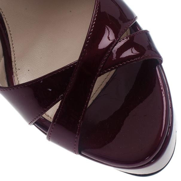 Prada Maroon Patent Criss Cross Platform Slingback Sandals Size 40