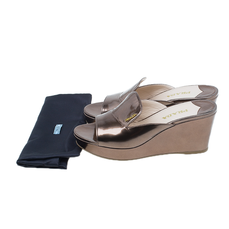 Prada Bronze Metallic Saffiano Wedge Slides Size 38.5