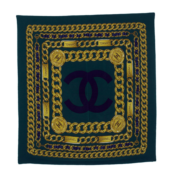 Chanel Green CC Chain Link Print Square Scarf