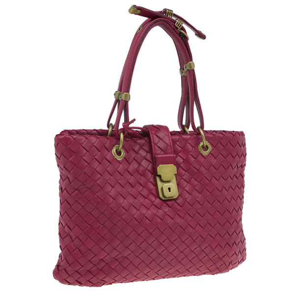 Bottega Veneta Red Woven Leather Tote