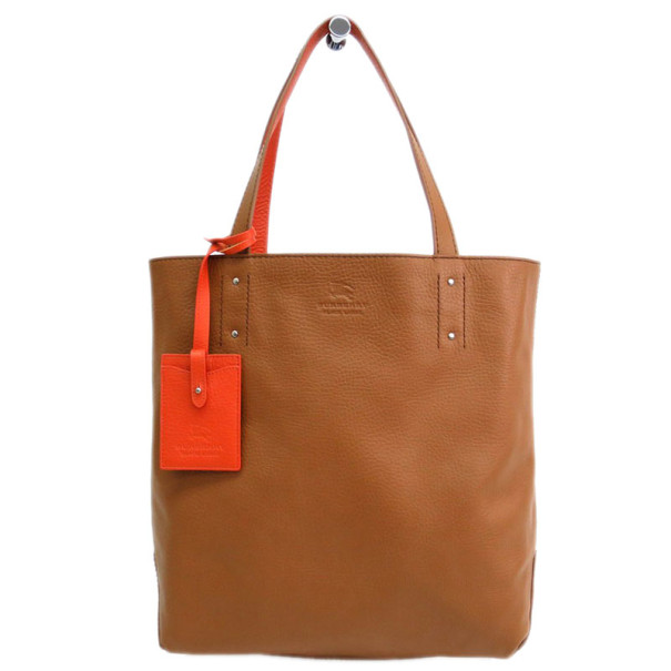 Burberry Orange and Brown Reversible Tote