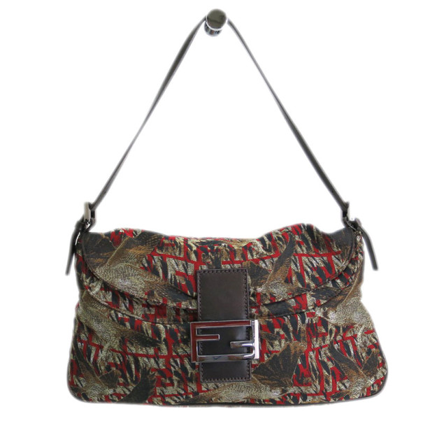 Fendi Bird Motif Canvas Shoulder Bag