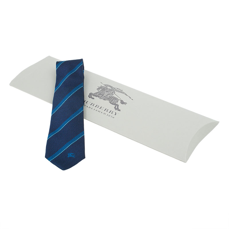 Burberry Two Tone Blue Striped Silk Tie