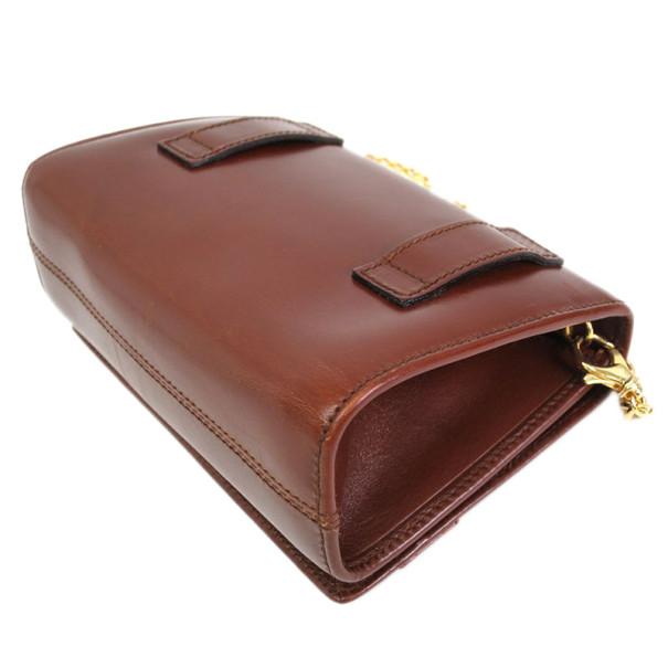 Salvatore Ferragamo Brown Gancini Leather Flap Bag