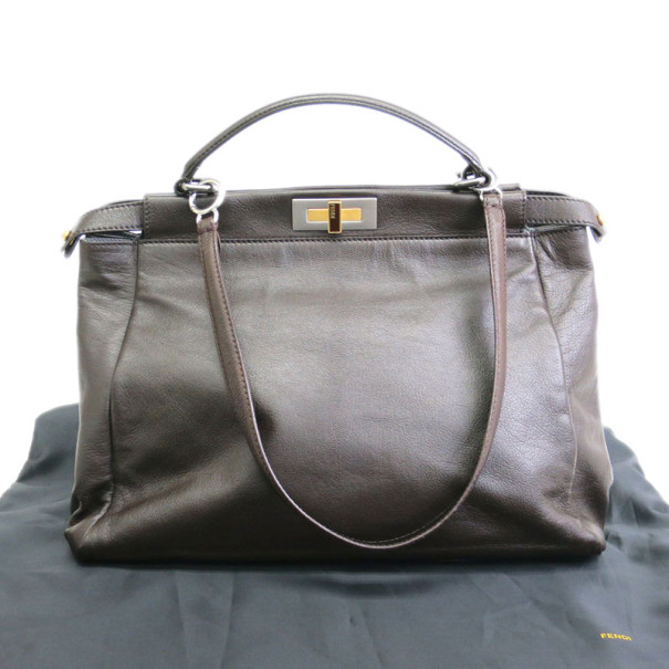 Fendi Brown Peekaboo Silver Lined Medium Tote