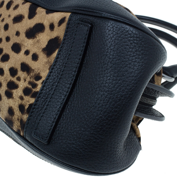 Dolce And Gabanna Black Trim Leopard Print Medium Satchel