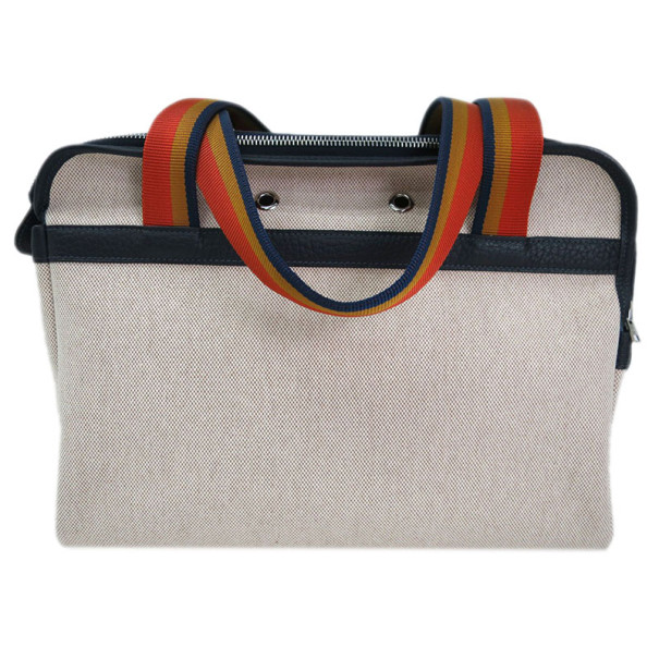 Hermes Beige Canvas and Traurillon Clemence Sac Transport Pet Bag