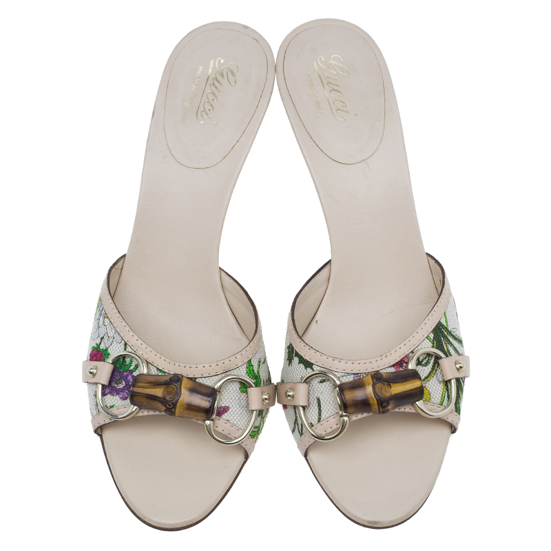 Gucci Flora Canvas Bamboo Horsebit Slides Size 38