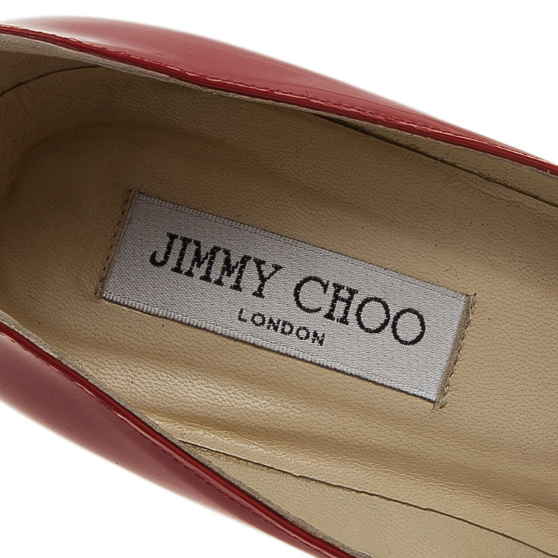 Jimmy Choo Red Patent Anouk Pointed Toe Pumps Size 39.5