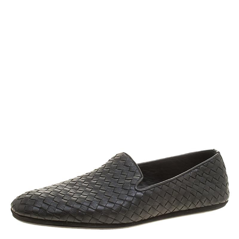 Bottega Veneta Black Intrecciato Leather Loafers Size 44