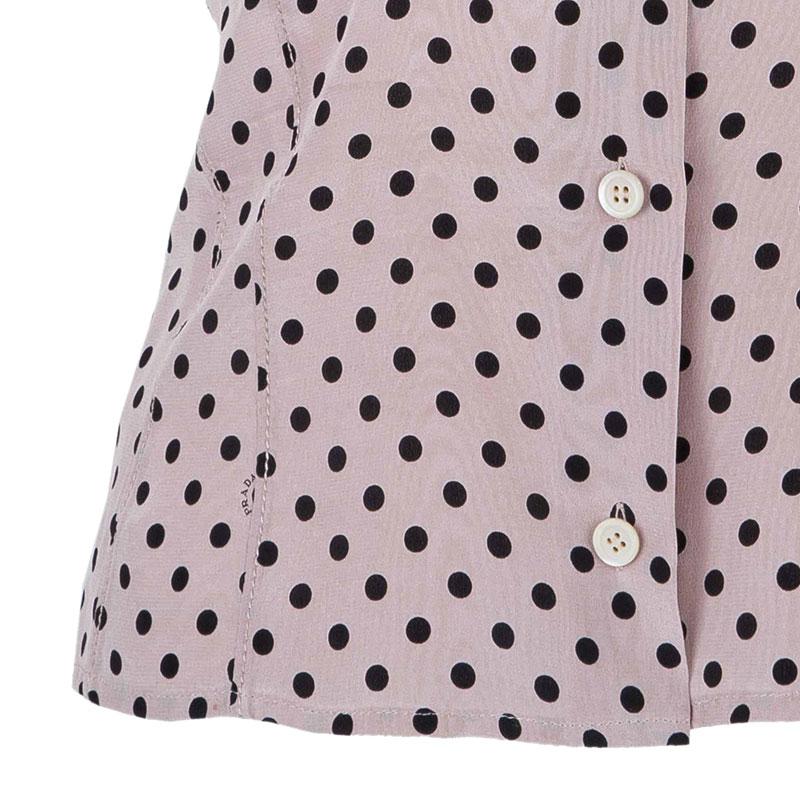 Prada Blush Dotted Silk Top S