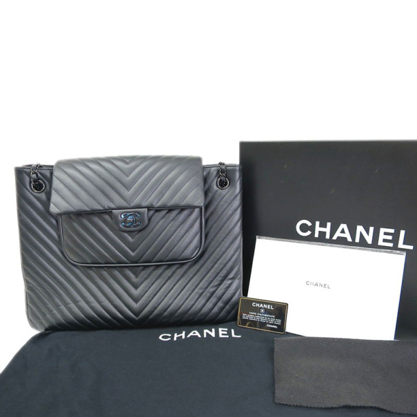 Chanel Black Calfskin Chevron Shopping Tote