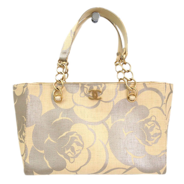 Chanel Beige Canvas Camellia Shopper Tote