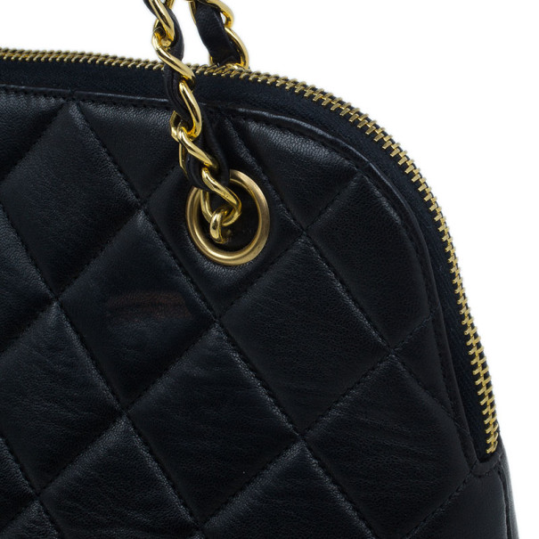 Chanel Black Quilted Lambskin Vintage Dome Bag