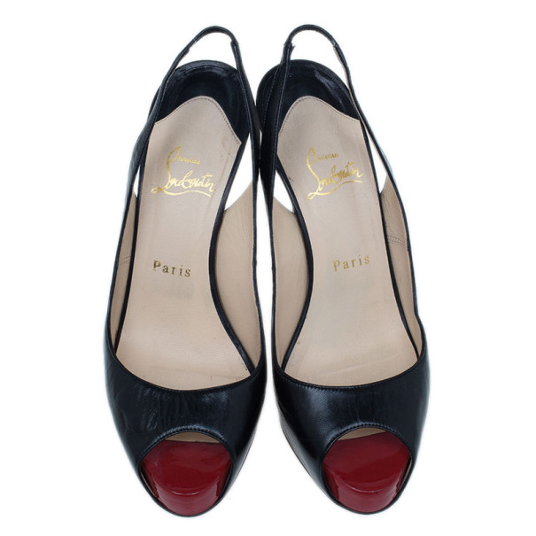 Christian Louboutin Black Leather N°Prive Slingback Sandals Size 38.5