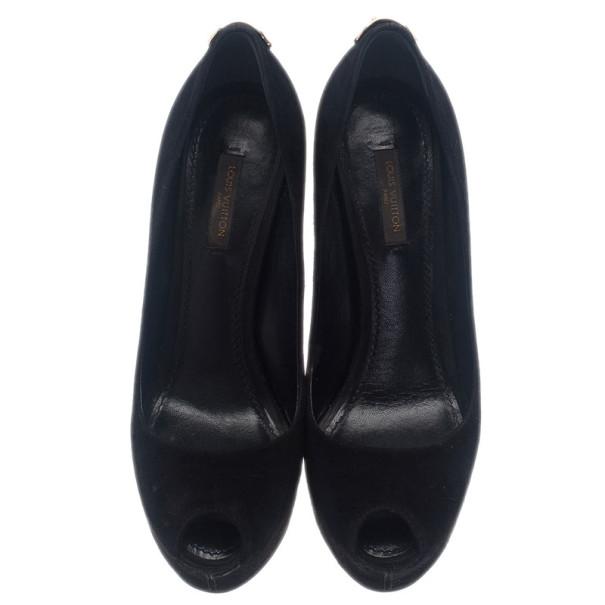 Louis Vuitton Black Suede Oh Really! Peep Toe Platform Pumps Size 37.5