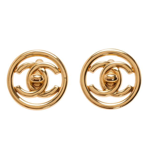 Chanel CC Turnlock Logo Round Clip Earrings