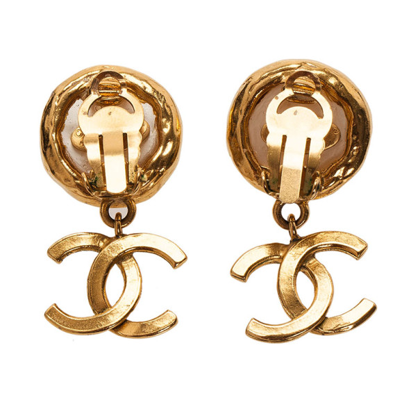 Chanel Vintage Faux Pearl CC Logo Gold Tone Earrings