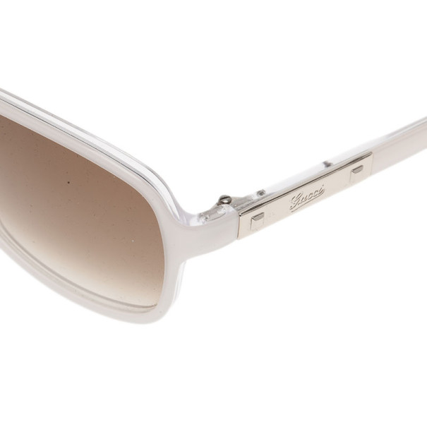 Gucci White 3040 Rectangle Sunglasses