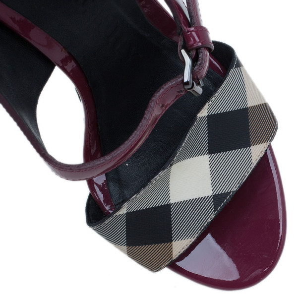 Burberry Burgundy Patent and Canvas Platform Espadrille Wedge Sandals Size 35.5