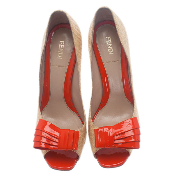 Fendi Raffia Bow Detail Peep Toe Pumps Size 38