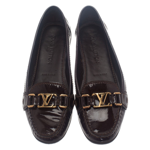 Louis Vuitton Brown Patent Leather Oxford Loafers Size 37.5