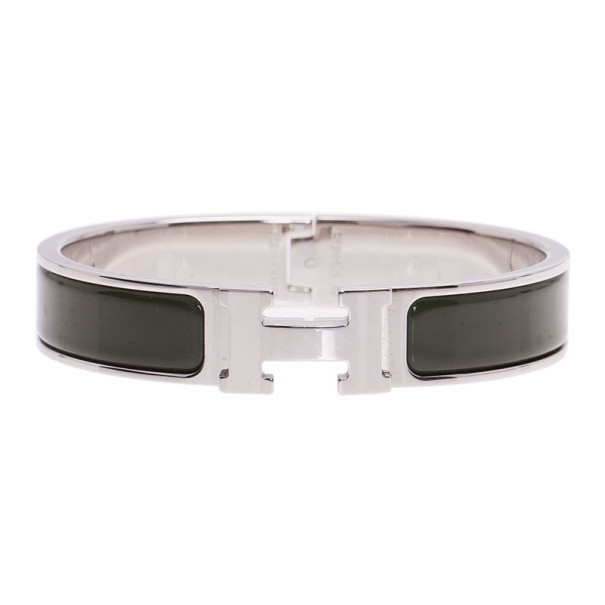 Hermes Clic Clac H Green Enamel Palladium-Plated Bracelet PM