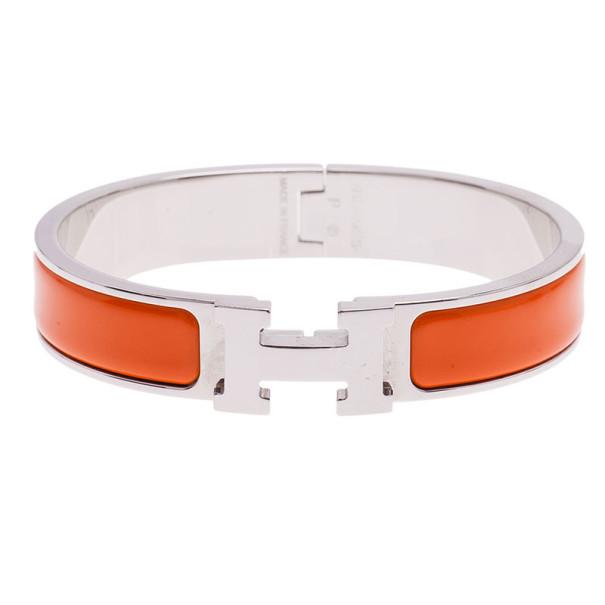 Hermes Clic Clac H Orange Enamel Palladium Plated Bracelet PM