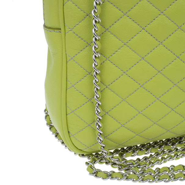 D&G Green Leather Quilted Lily Glam Zip Top Shoulder Bag