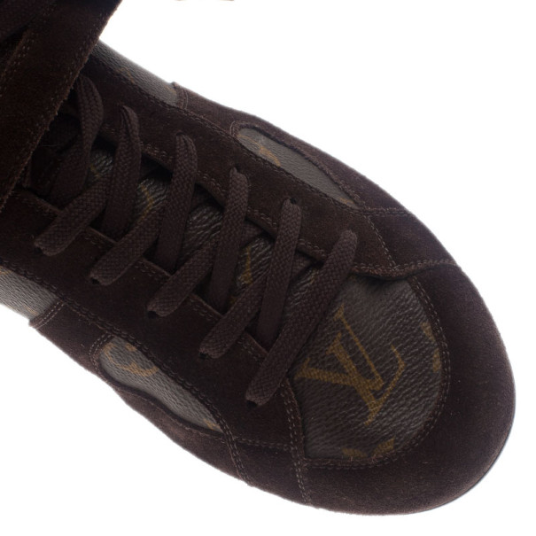 Louis Vuitton Brown Suede and Monogram Canvas Sneakers Size 38