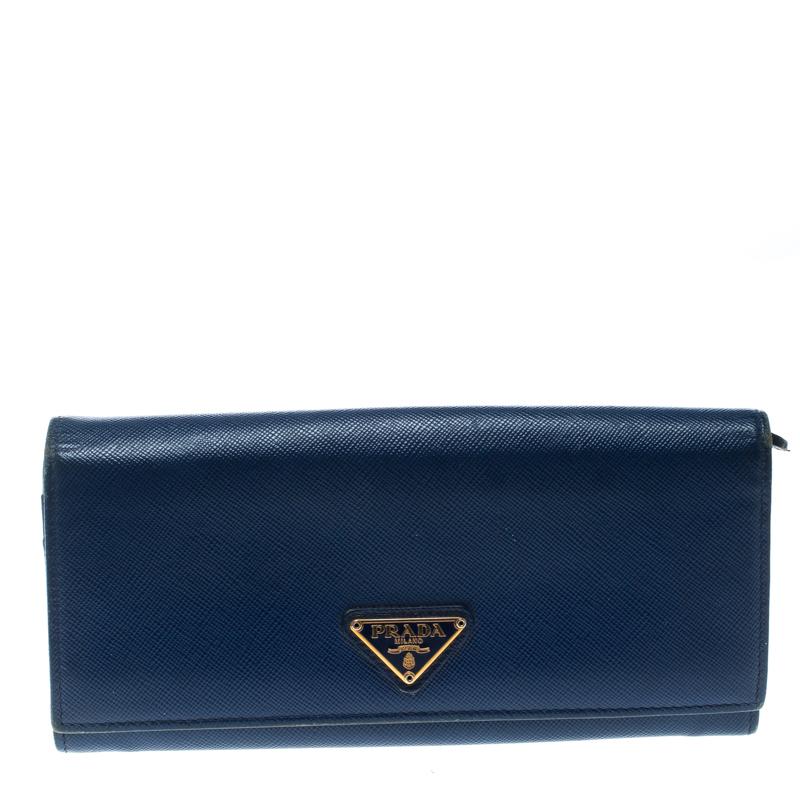 Купить со скидкой Prada Blue Saffiano Leather Continental Wallet