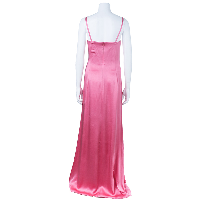Valentino Pink Strapless Floral Brooch Gown L