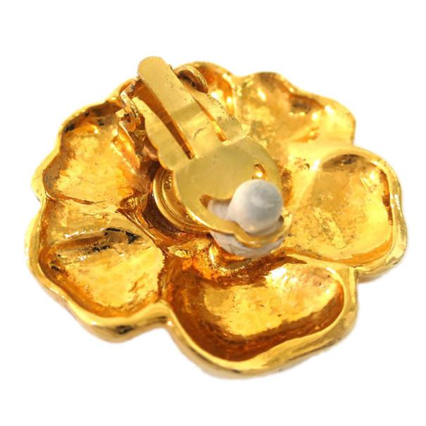 Chanel Camelia Gold Tone Earrings