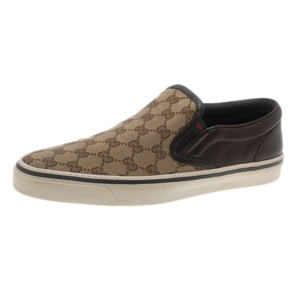 Gucci GG Canvas and Leather Slip On Sneakers Size 43.5