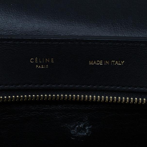 Celine Black Croc Embossed Medium Trapeze Tote