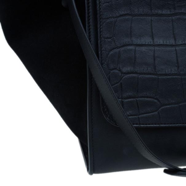 celine mini luggage bag black - celine trapeze in crocodile-embossed