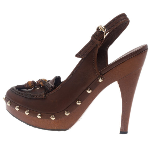 Gucci Brown Leather Bamboo Tassel Loafer Slingback Sandals Size 40