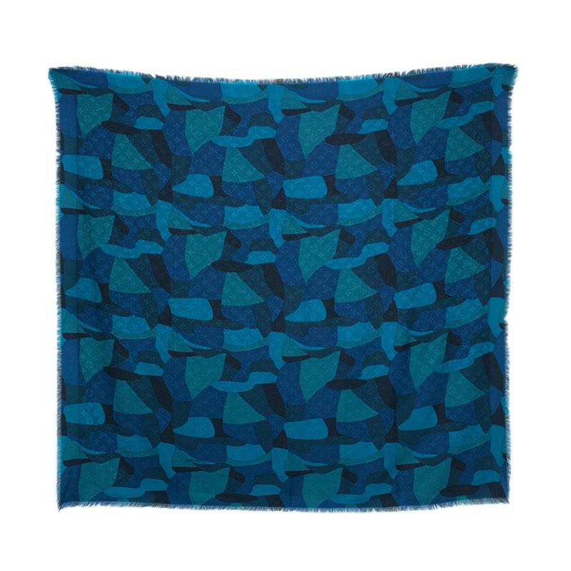 Louis Vuitton Blue Silk & Wool Camouflage Monogram Shawl