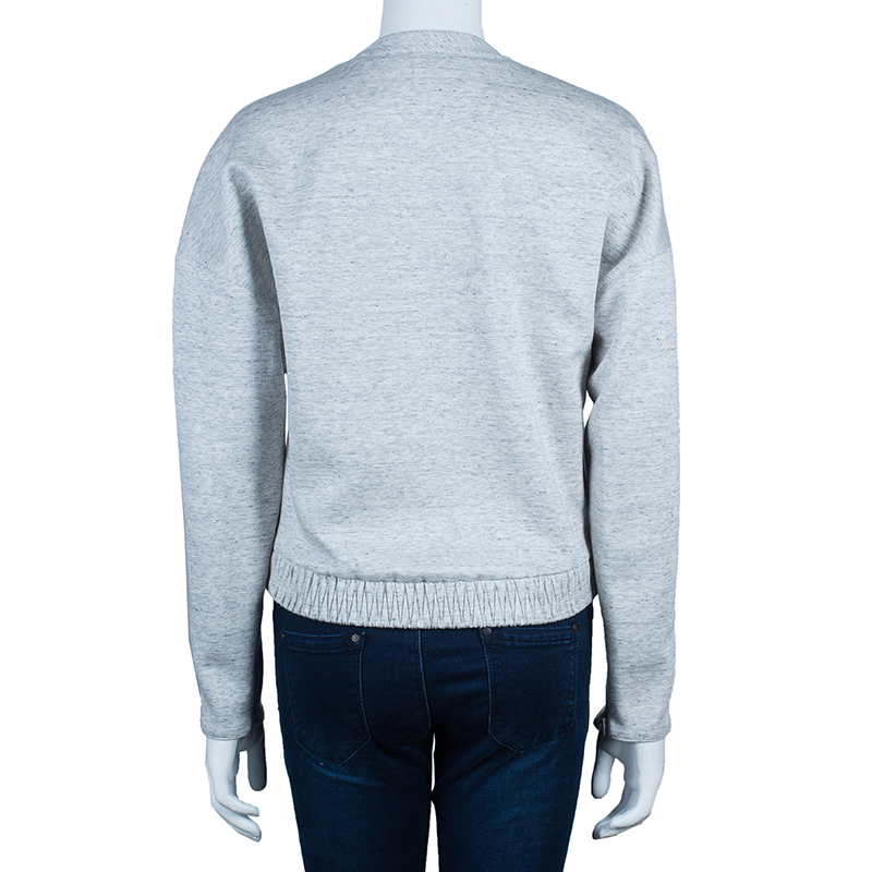 3.1 Phillip Lim Gray Guipure Lace Appliqué Ribbed Hem Sweatshirt M