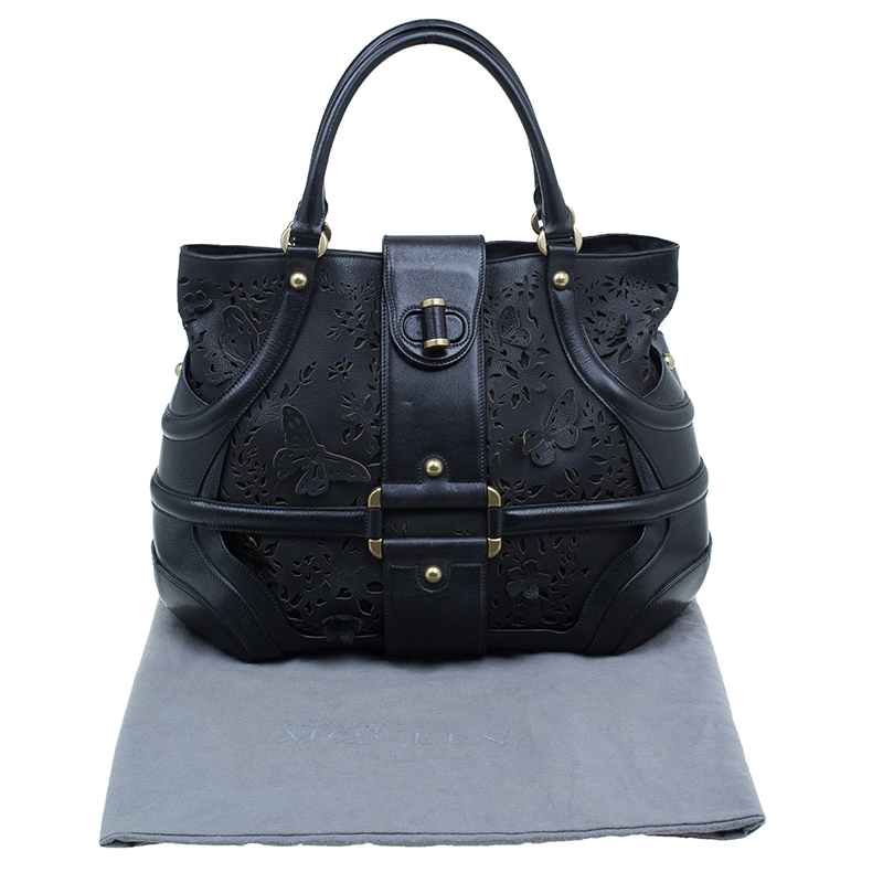 Alexander McQueen Black Leather Butterfly Perforated Novak Tote