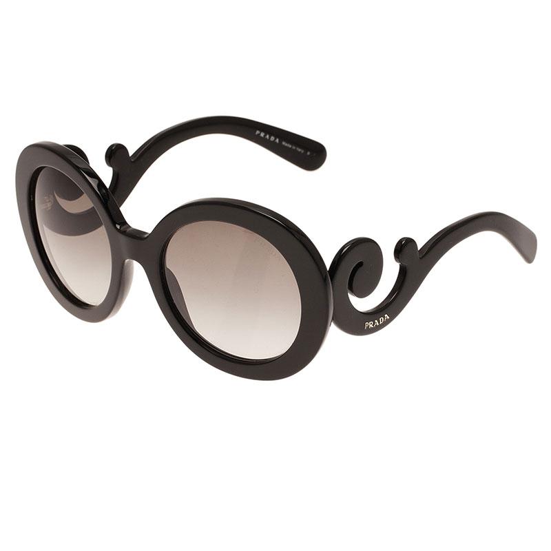 Prada Black Round Baroque Sunglasses