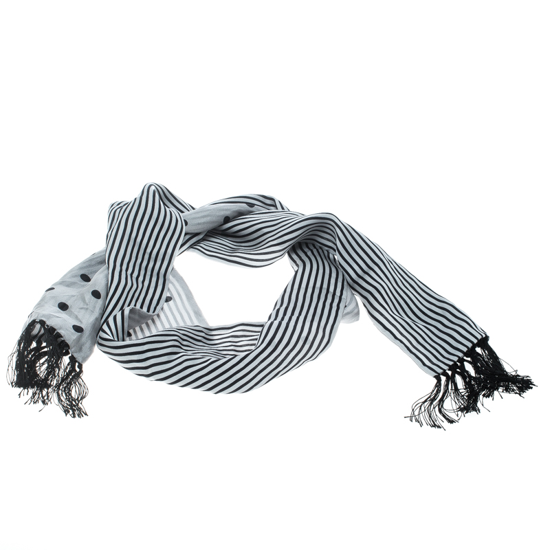 Купить со скидкой Dolce and Gabbana Polka Dotted and Striped Silk Tassel Detail Reversible Scarf
