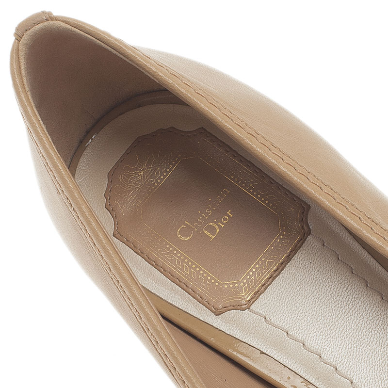 Dior Nude Leather Cannage Heel Ballerina Pumps Size 39.5