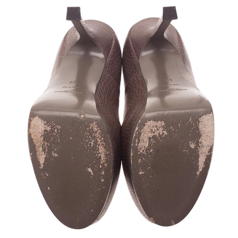 Saint Laurent Paris Brown Leather Tribtoo Pumps Size 39