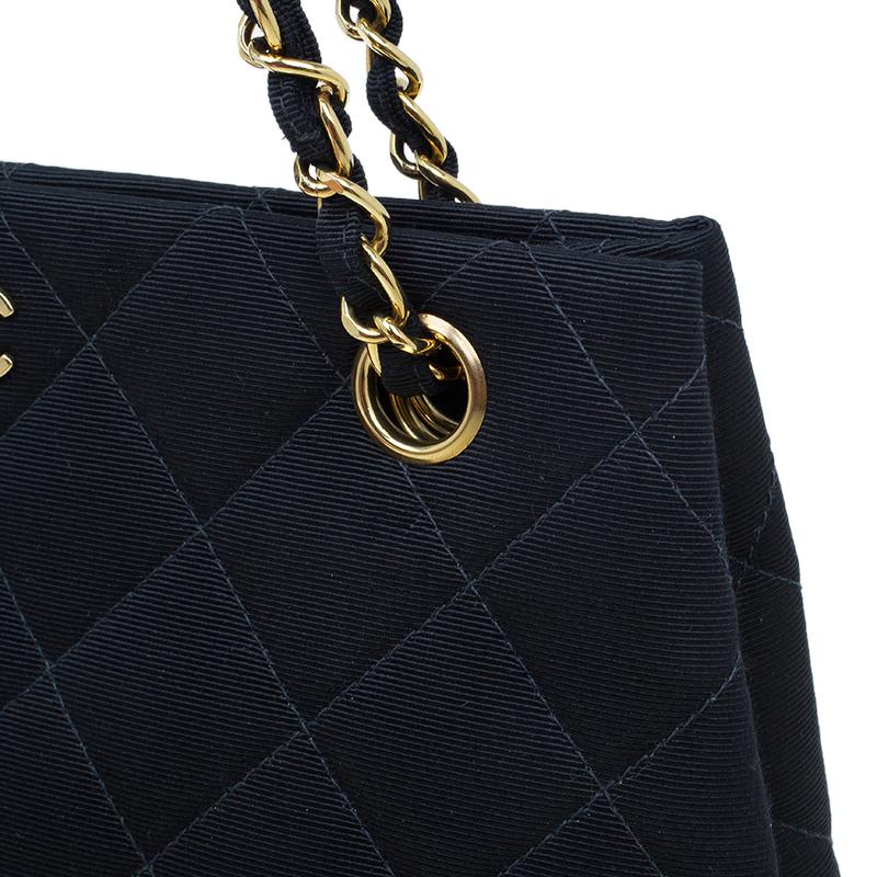 Chanel Black Fabric Vintage Small Tote Bag